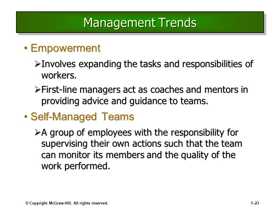 Management Trends Empowerment Self-Managed Teams