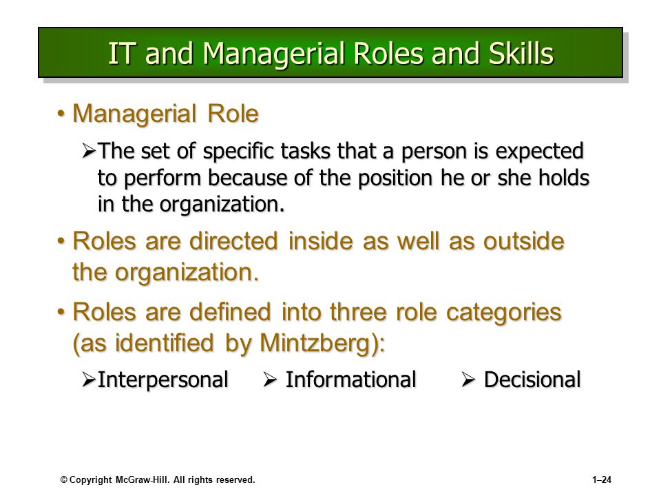 IT and Managerial Roles and Skills