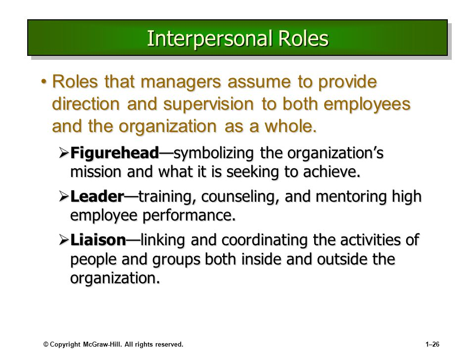 Interpersonal Roles Roles that managers assume to provide direction and supervision to both employees and the organization as a whole.