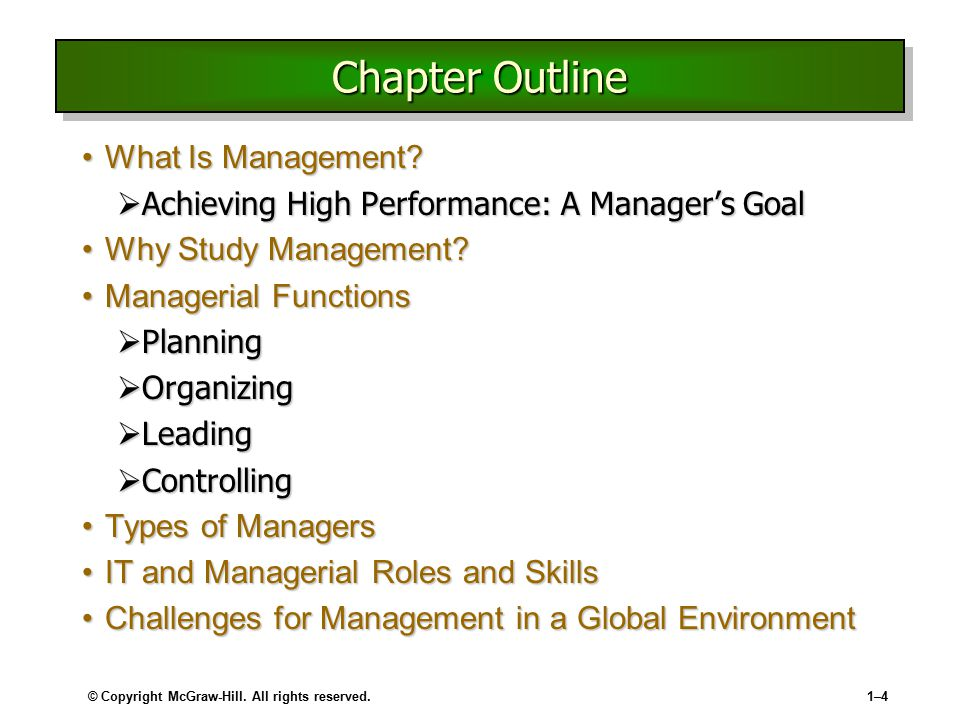 Chapter Outline What Is Management