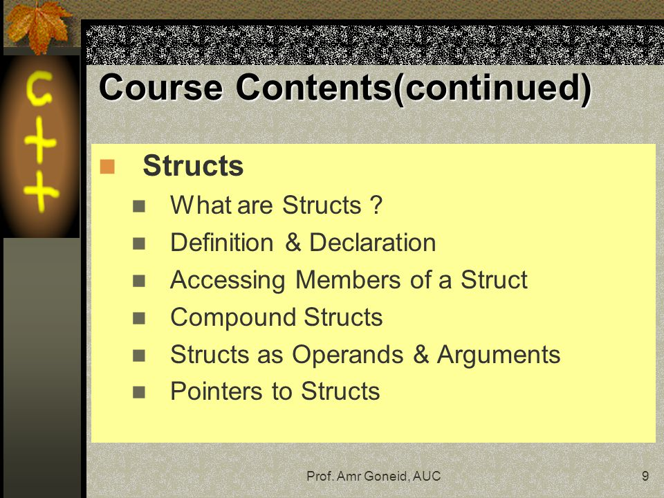 Course Contents(continued)