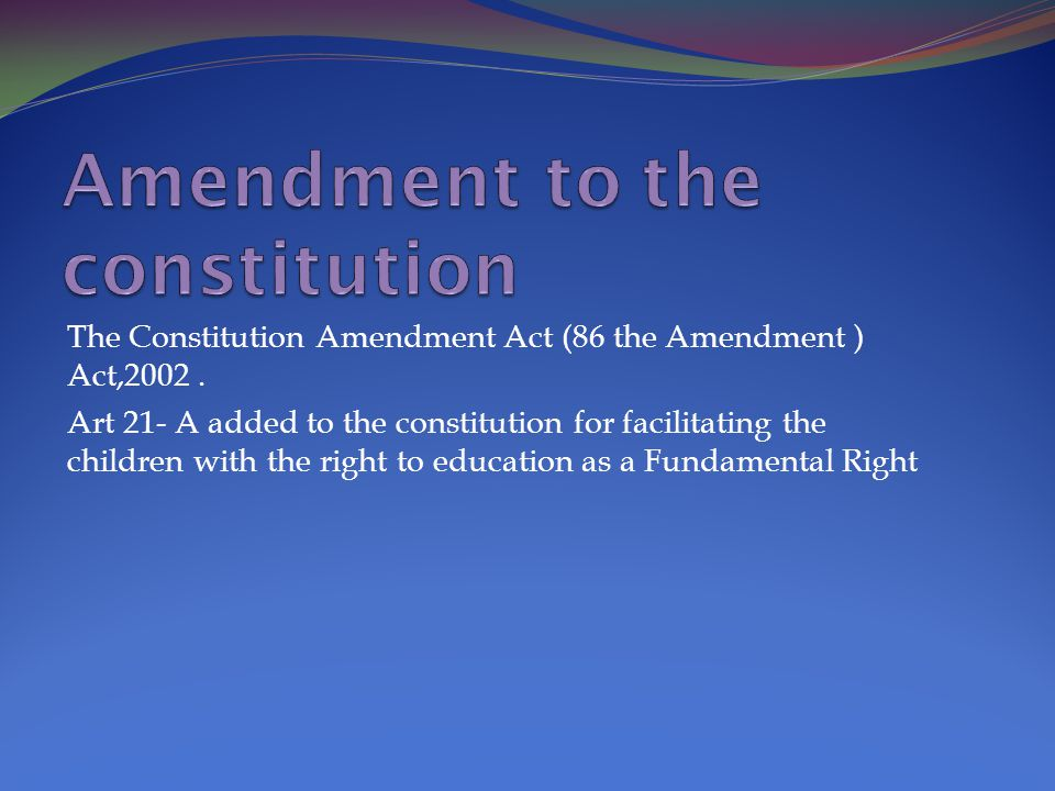 Amendment to the constitution