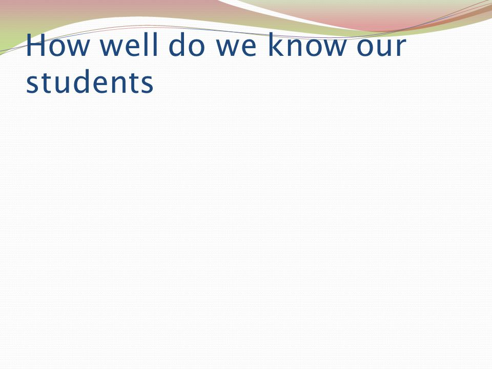 How well do we know our students