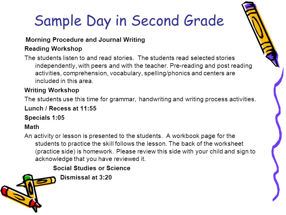 Sample Day in Second Grade