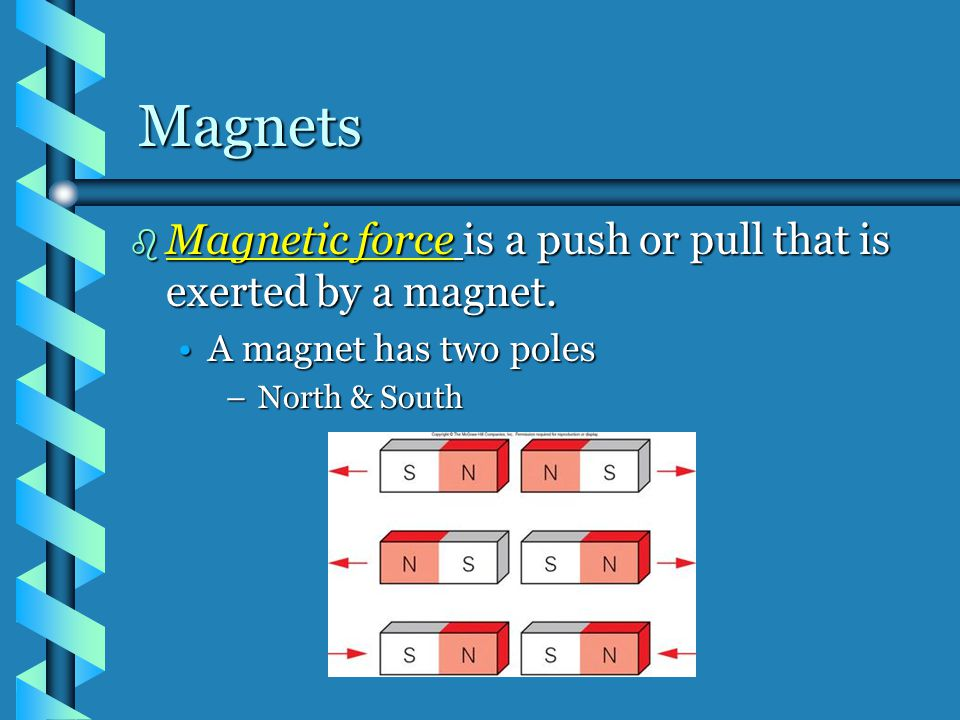 Magnets Magnetic force is a push or pull that is exerted by a magnet.