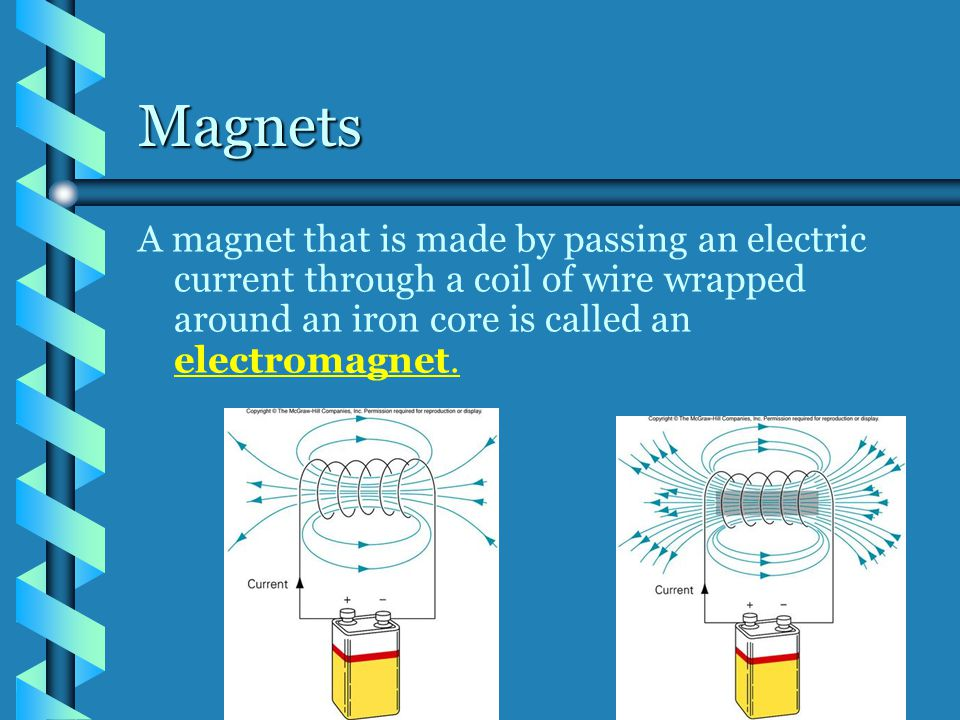 Magnets A magnet that is made by passing an electric current through a coil of wire wrapped around an iron core is called an electromagnet.