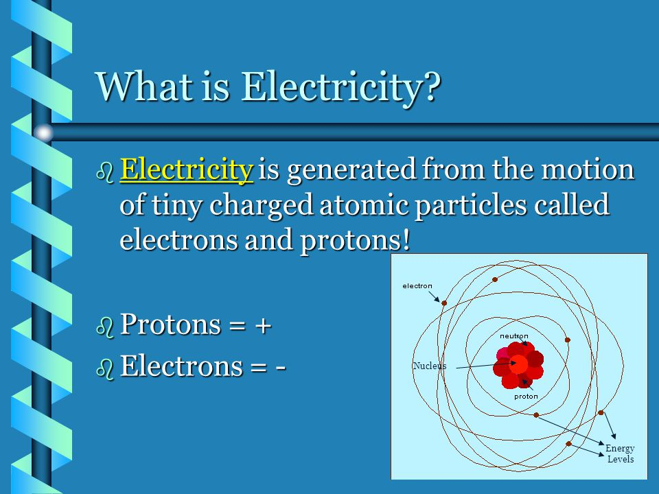 What is Electricity Electricity is generated from the motion of tiny charged atomic particles called electrons and protons!