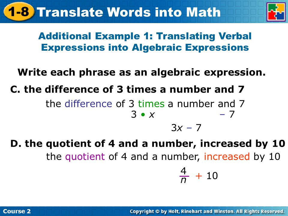 Algebra Terms and Expressions