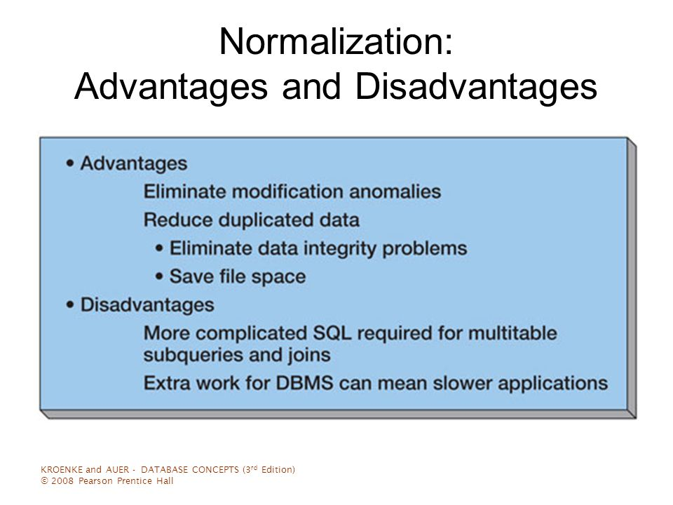 advantages and disadvantages of normalization Benefits of database normalization what r the advantages & disadvantages of normalisation what are the advantages and disadvantages of a normalised.