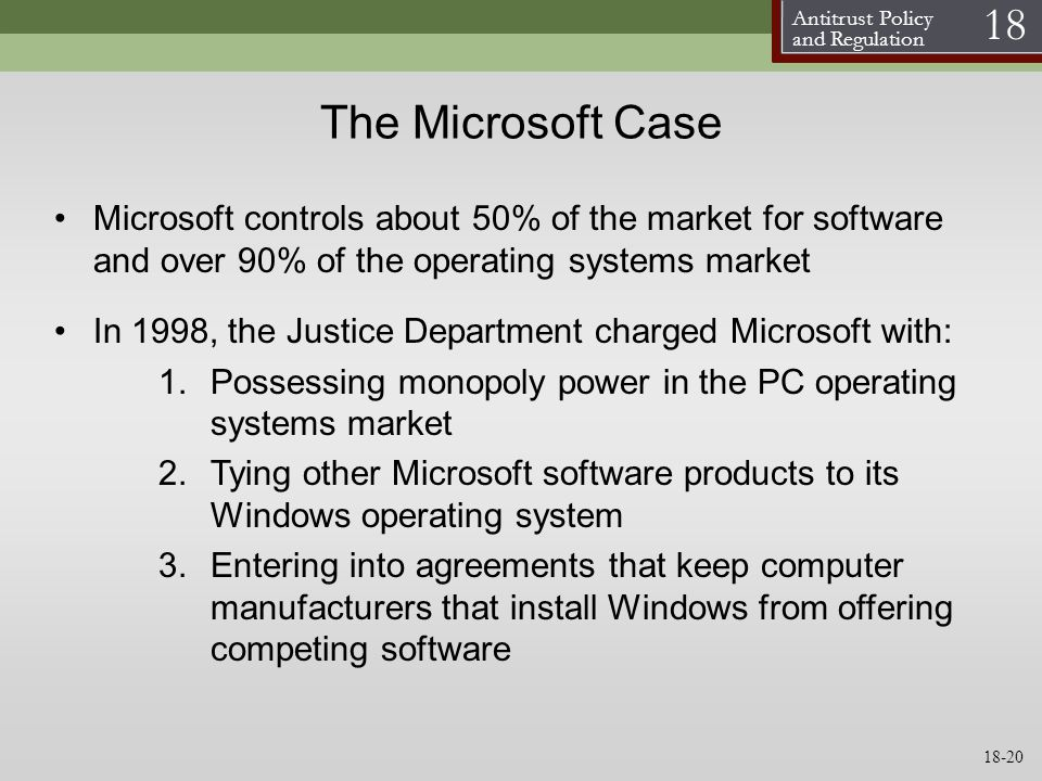 the software monopoly case of microsoft Case study of microsoft using the latest technology and software, microsoft also exerts monopoly in this million to microsoft now, as the case goes on in.
