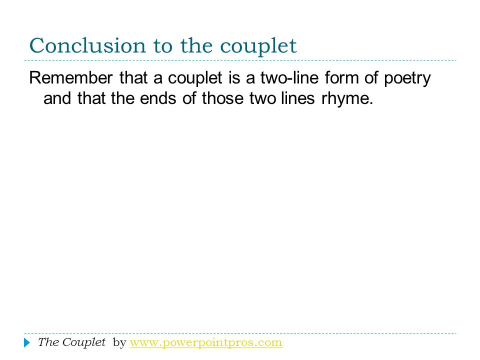 Conclusion to the couplet