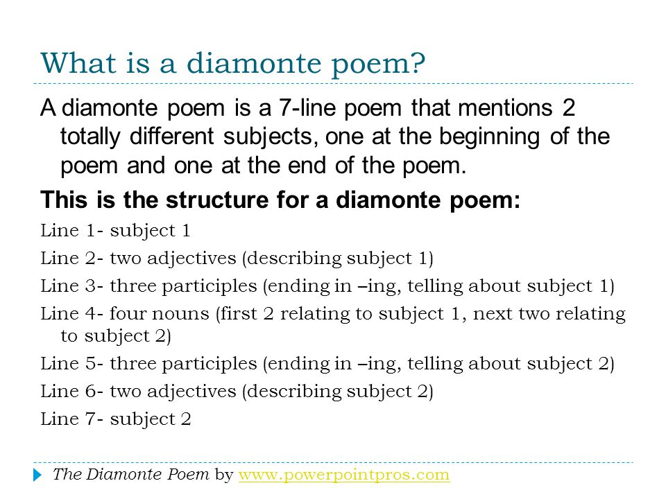 What is a diamonte poem