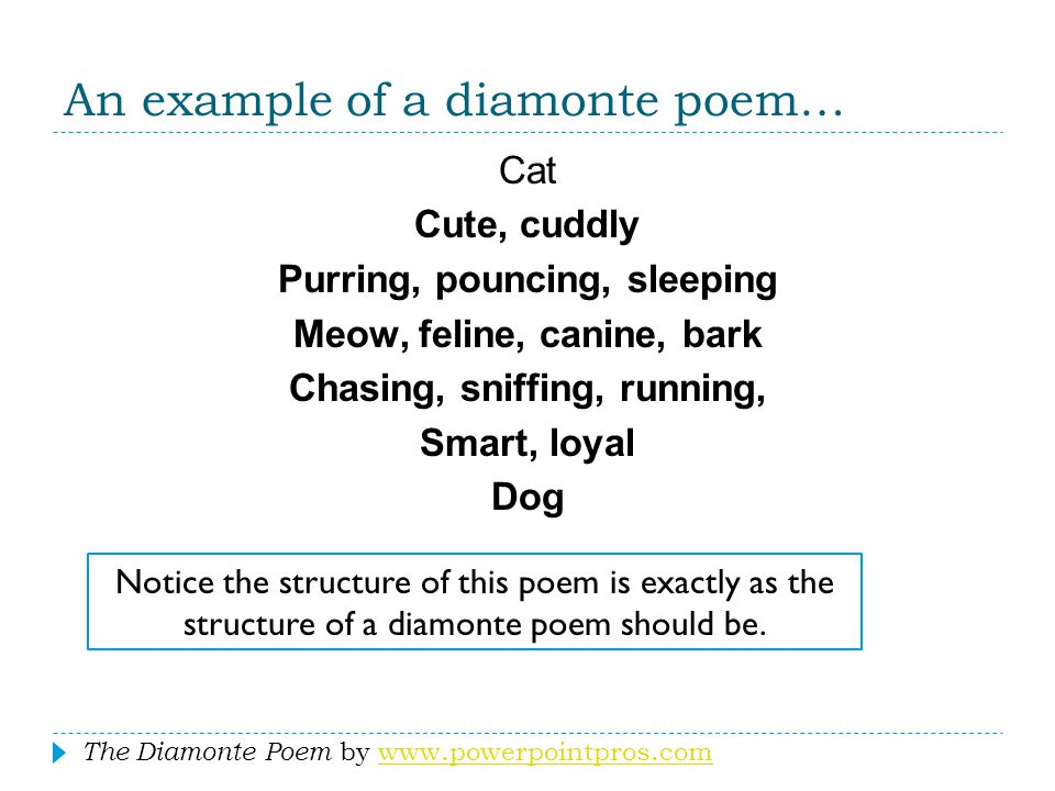 An example of a diamonte poem…