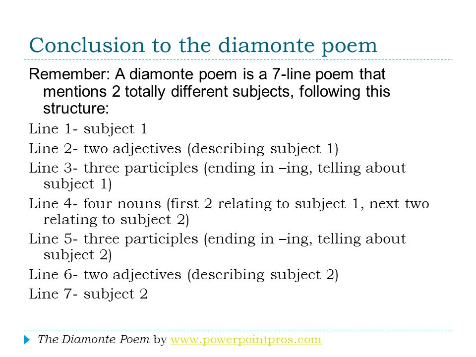 Conclusion to the diamonte poem