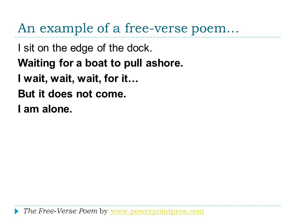 An example of a free-verse poem…