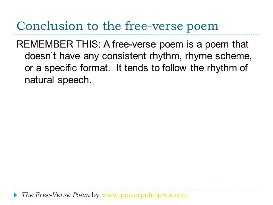 Conclusion to the free-verse poem