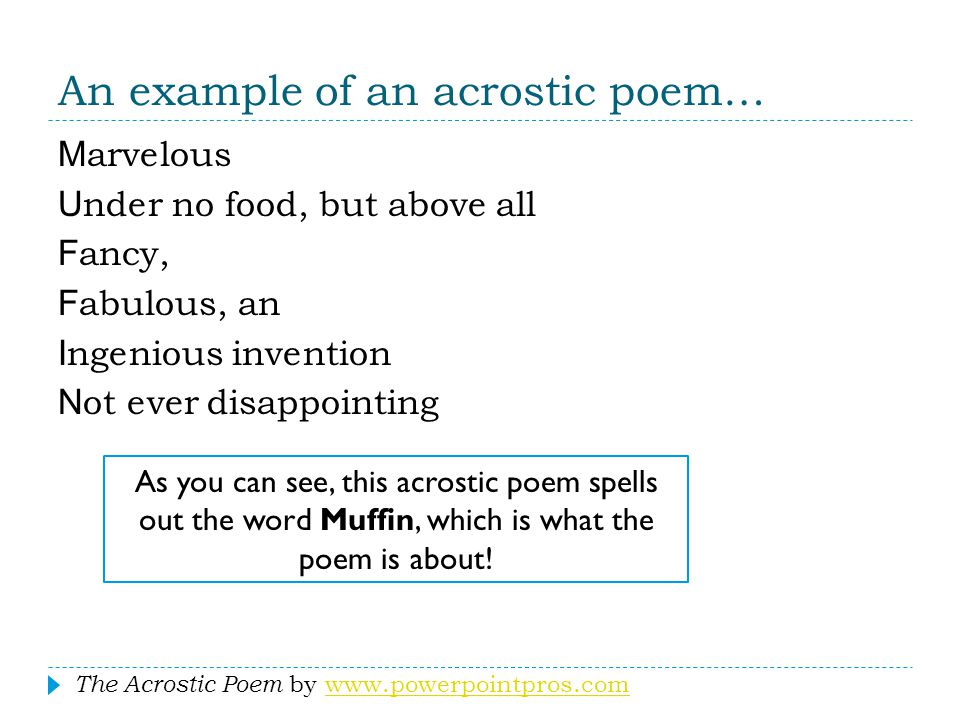 An example of an acrostic poem…