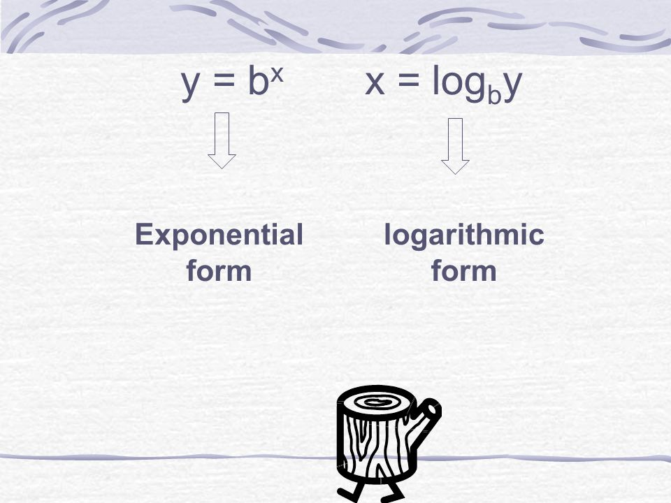 how to write from exponential to logarithmic form