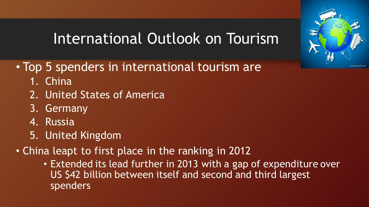 outlook of domestic and international tourism Domestic tourism expenditure represents 228 percent of the  on the  international recommendations for tourism statistics and tourism satellite.