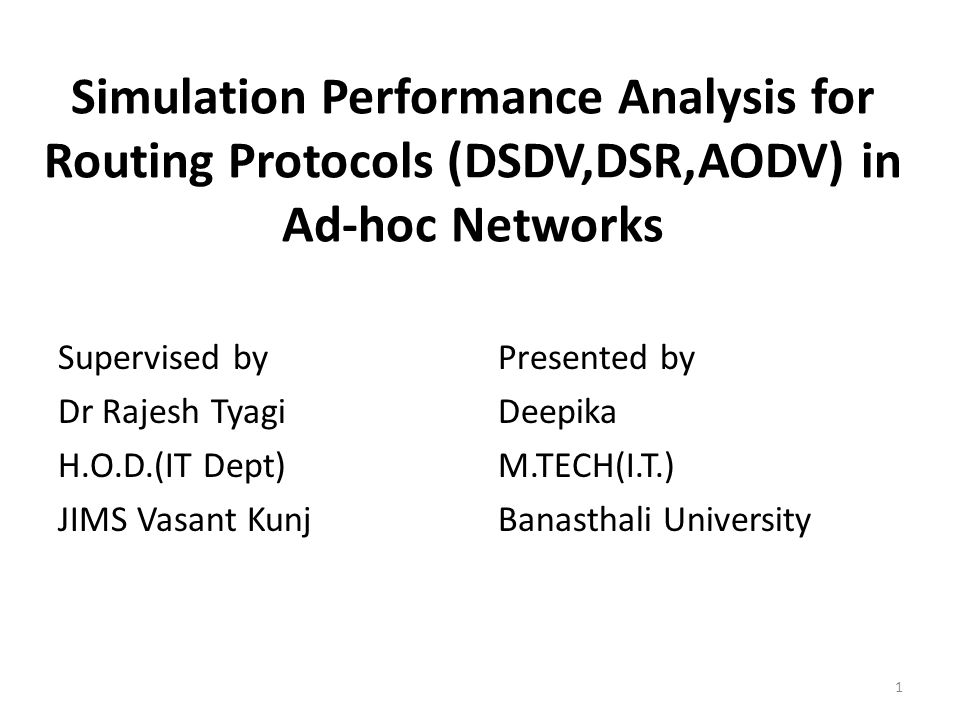 Simulation performance evaluation of aodv