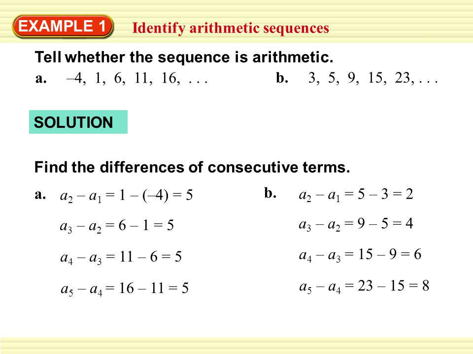 Example  Identify Arithmetic Sequences  Ppt Download