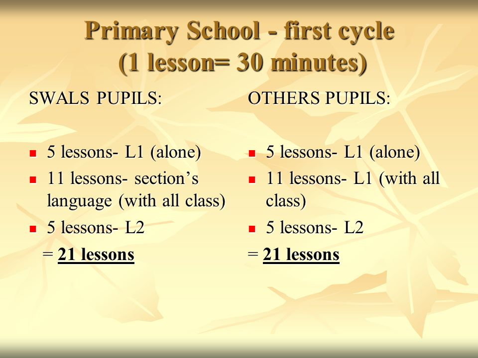 Primary School - first cycle (1 lesson= 30 minutes)