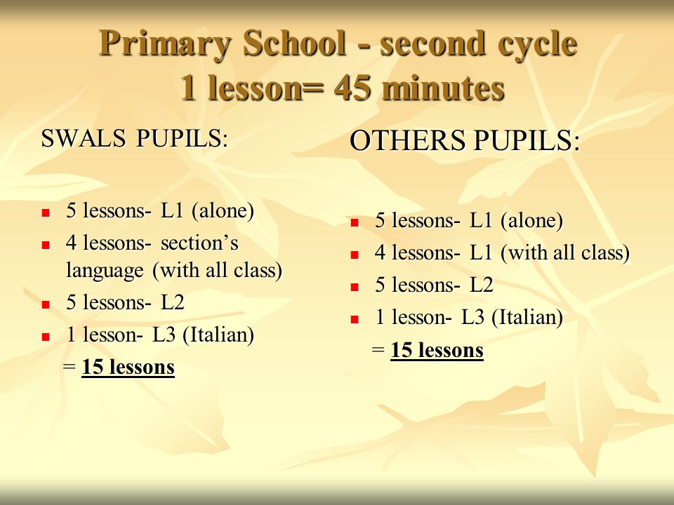 Primary School - second cycle 1 lesson= 45 minutes