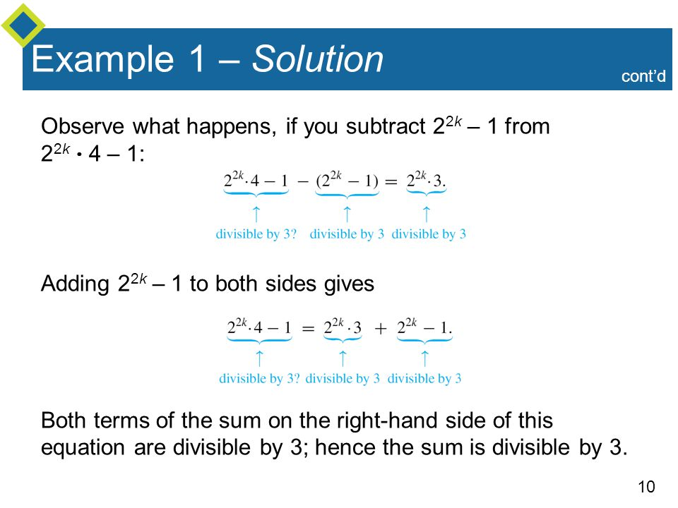 Example 1 – Solution cont'd. Observe what happens, if you subtract 22k – 1 from 22k  4 – 1: