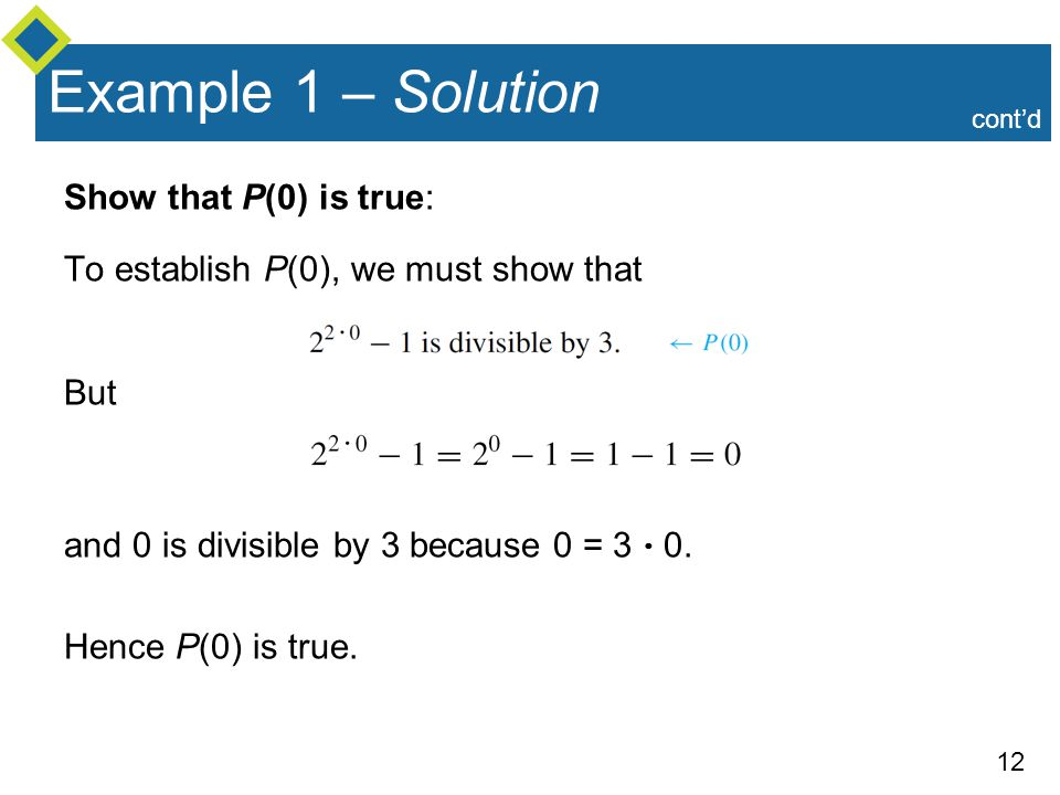 Example 1 – Solution Show that P(0) is true: