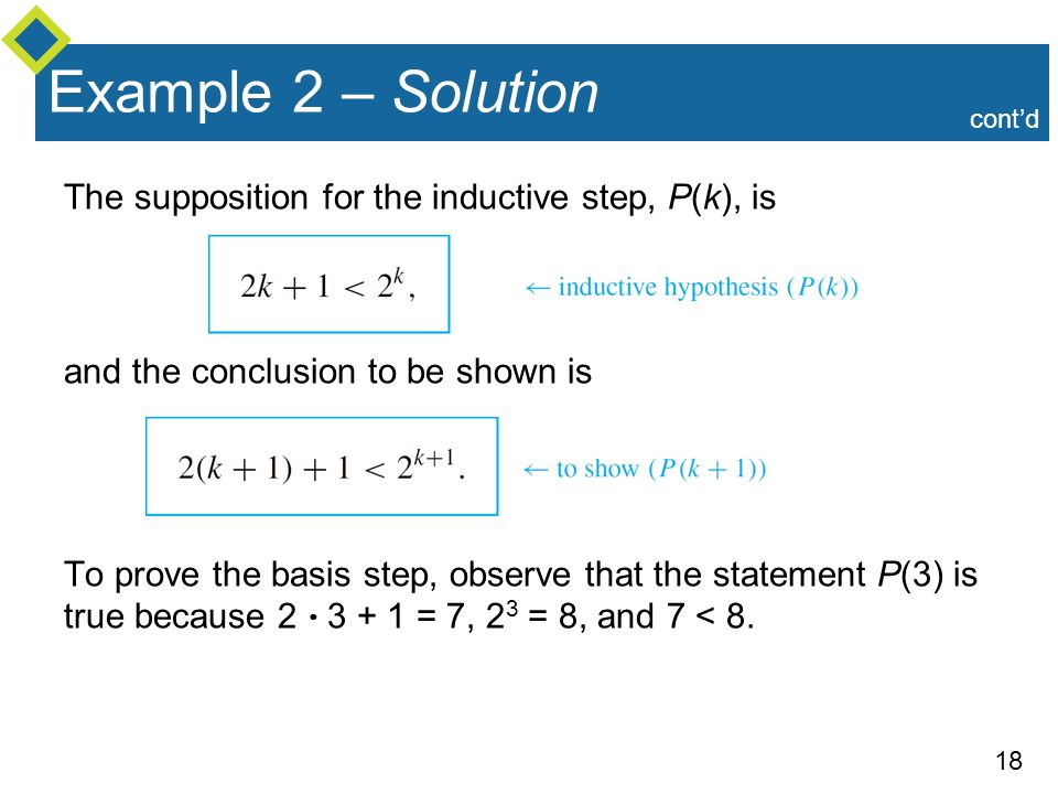 Example 2 – Solution The supposition for the inductive step, P(k), is