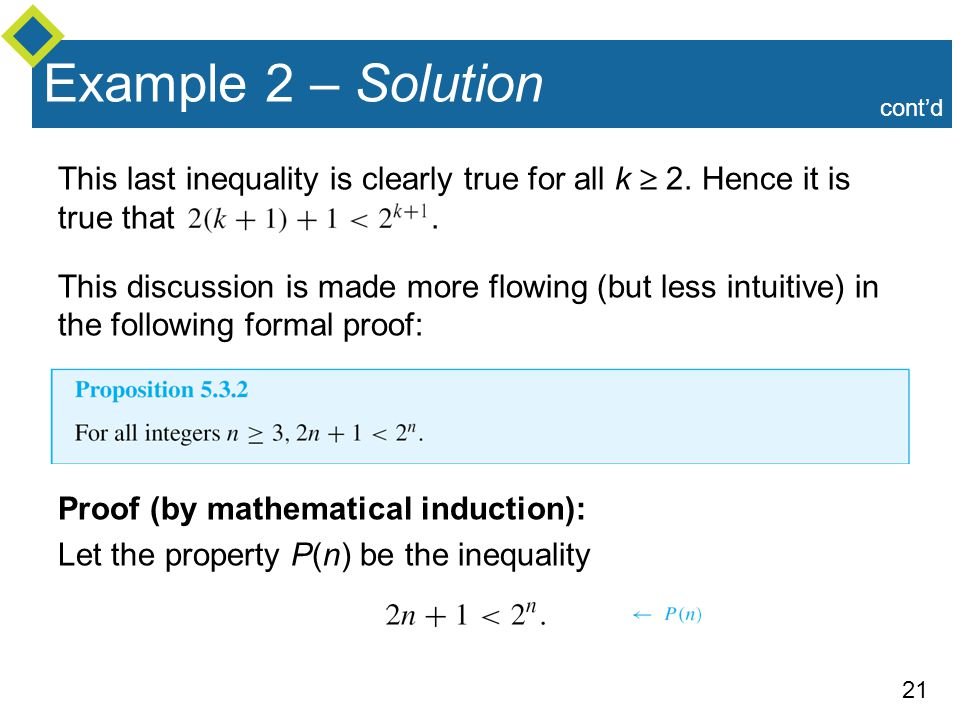 Example 2 – Solution cont'd. This last inequality is clearly true for all k  2. Hence it is true that .