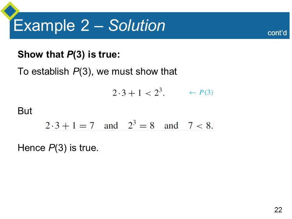 Example 2 – Solution Show that P(3) is true: