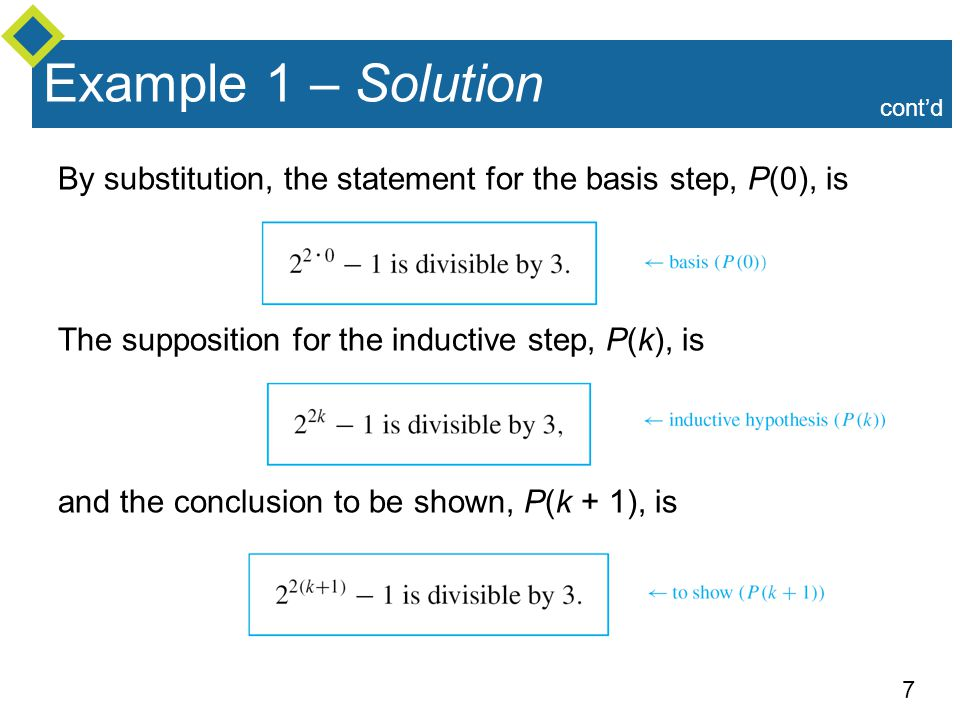 Example 1 – Solution cont'd. By substitution, the statement for the basis step, P(0), is. The supposition for the inductive step, P(k), is.