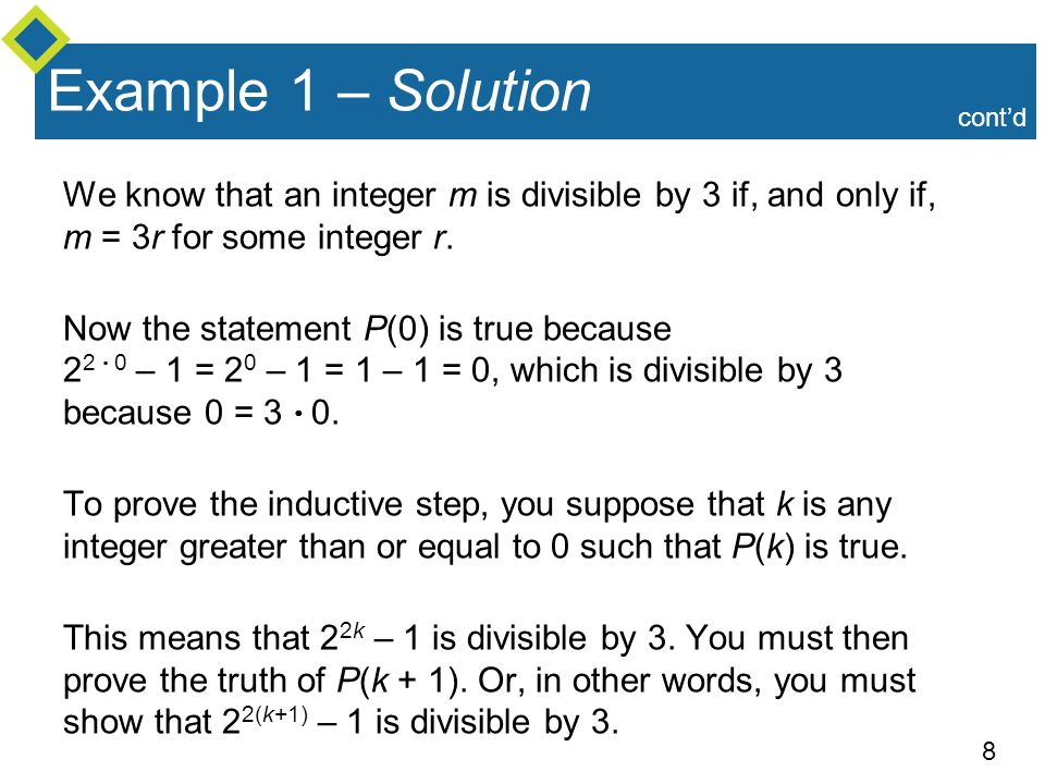 Example 1 – Solution cont'd. We know that an integer m is divisible by 3 if, and only if, m = 3r for some integer r.