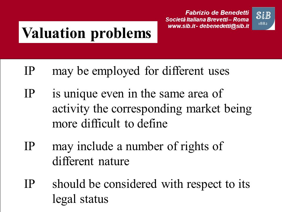 Valuation problems IP may be employed for different uses