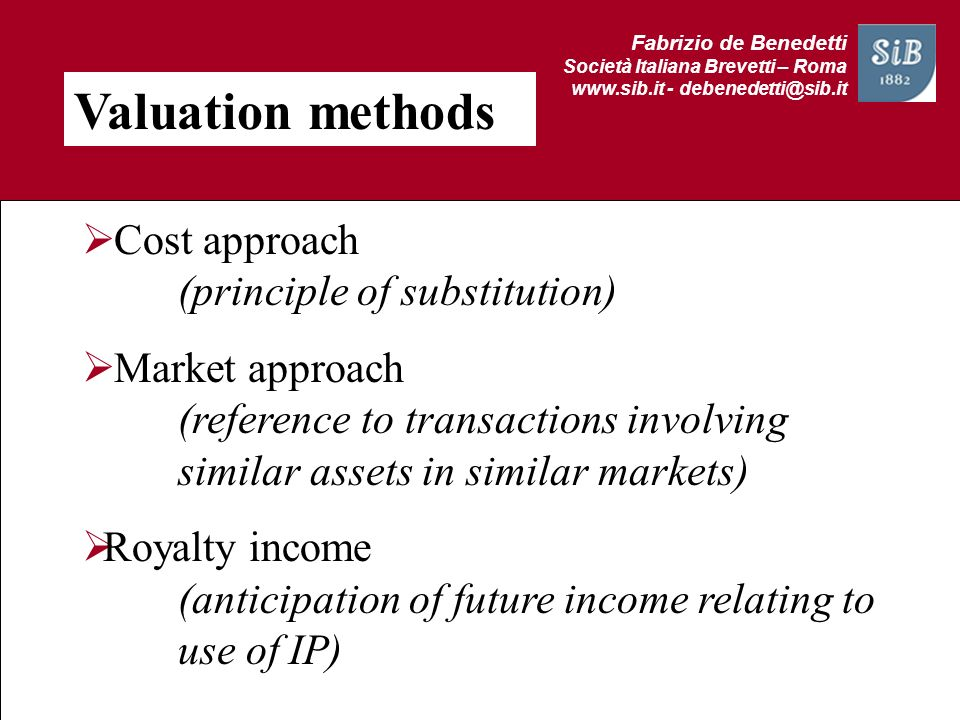 Valuation methods Cost approach (principle of substitution)