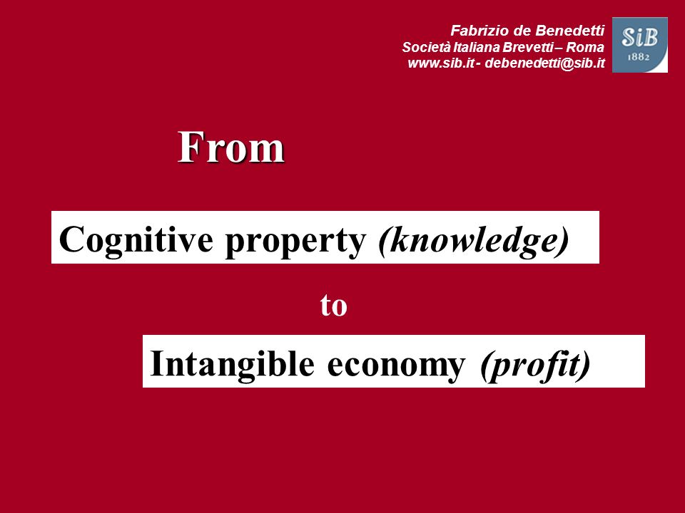 From Cognitive property (knowledge) Intangible economy (profit) to