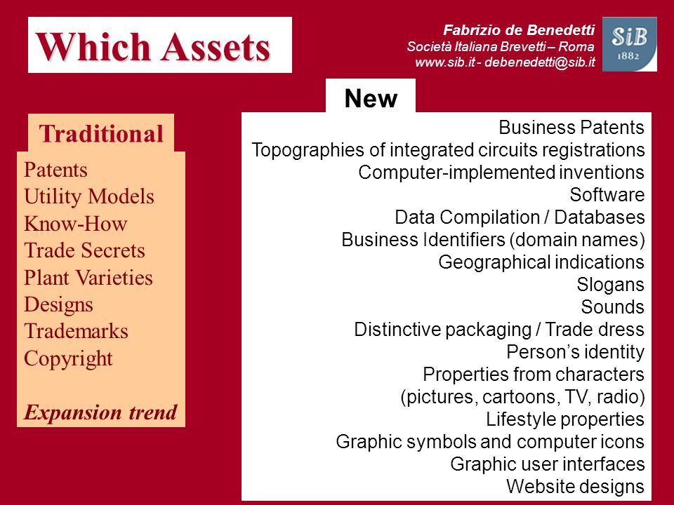 Which Assets New Traditional Patents Utility Models Know-How