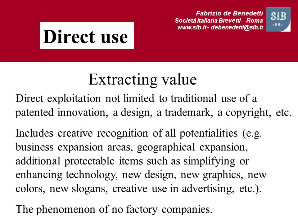 Direct use Extracting value