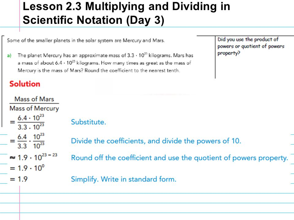 Lesson 23 Multiplying and Dividing in Scientific Notation Day 3 – Multiplying and Dividing Scientific Notation Worksheet