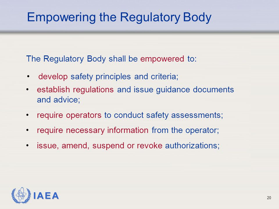 Empowering the Regulatory Body