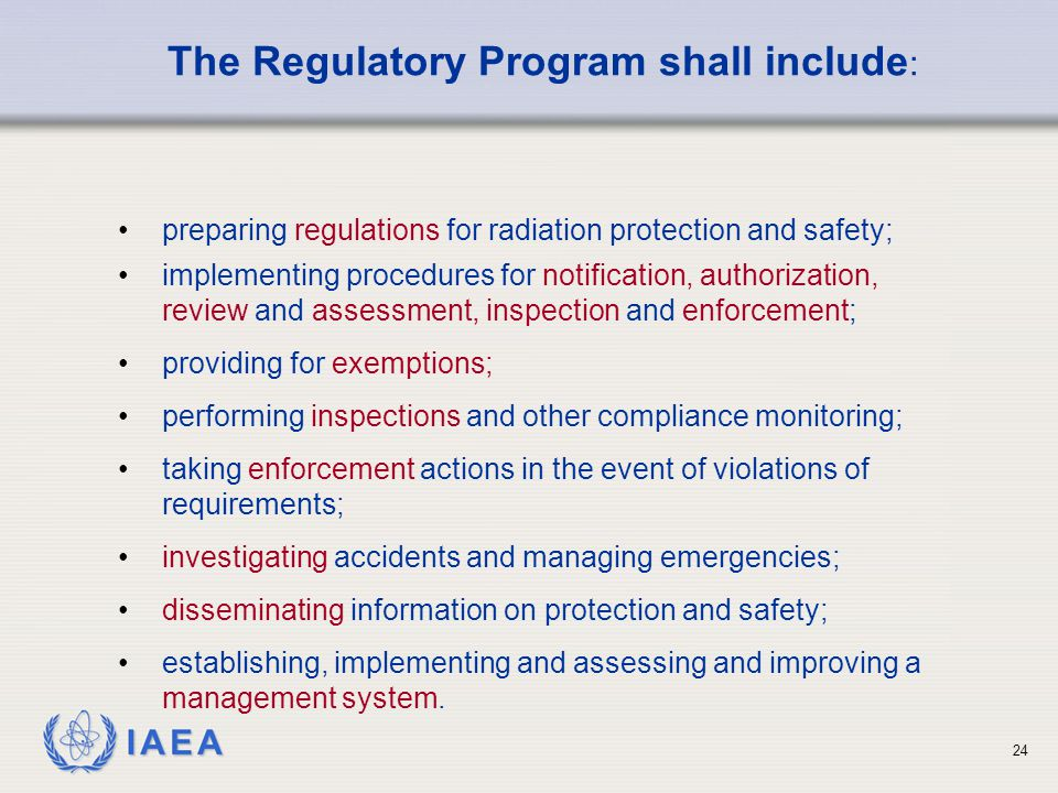 The Regulatory Program shall include: