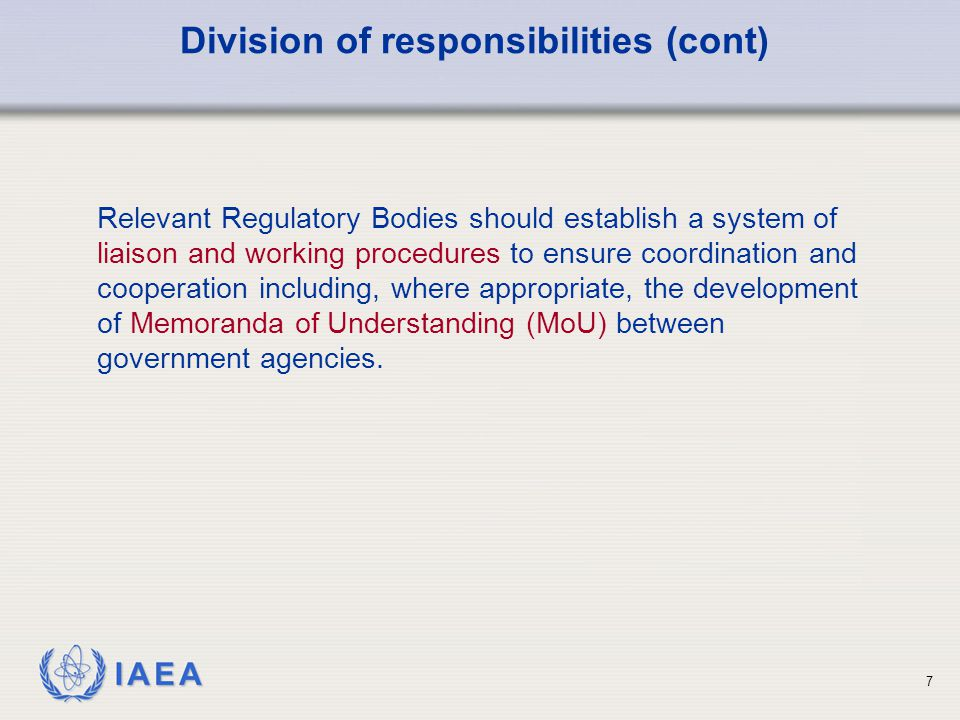 Division of responsibilities (cont)