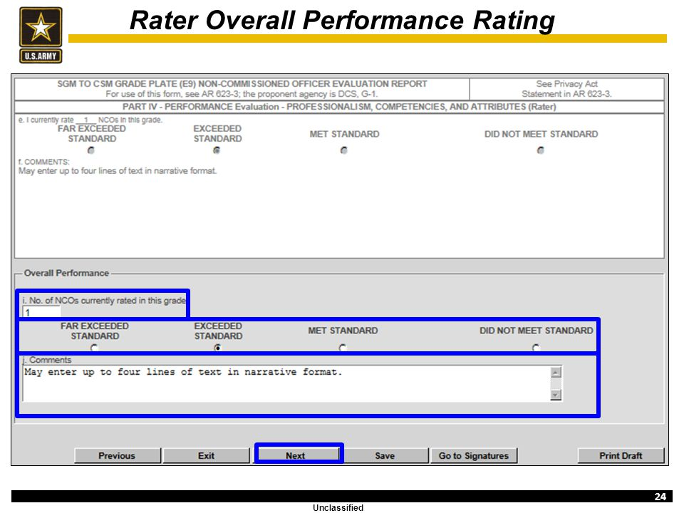 Rater Overall Performance Bullets