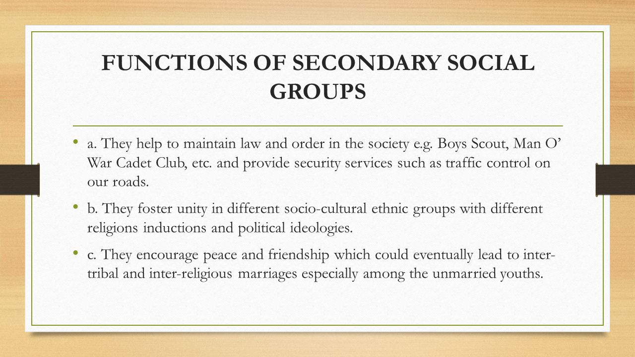 FUNCTIONS OF SECONDARY SOCIAL GROUPS