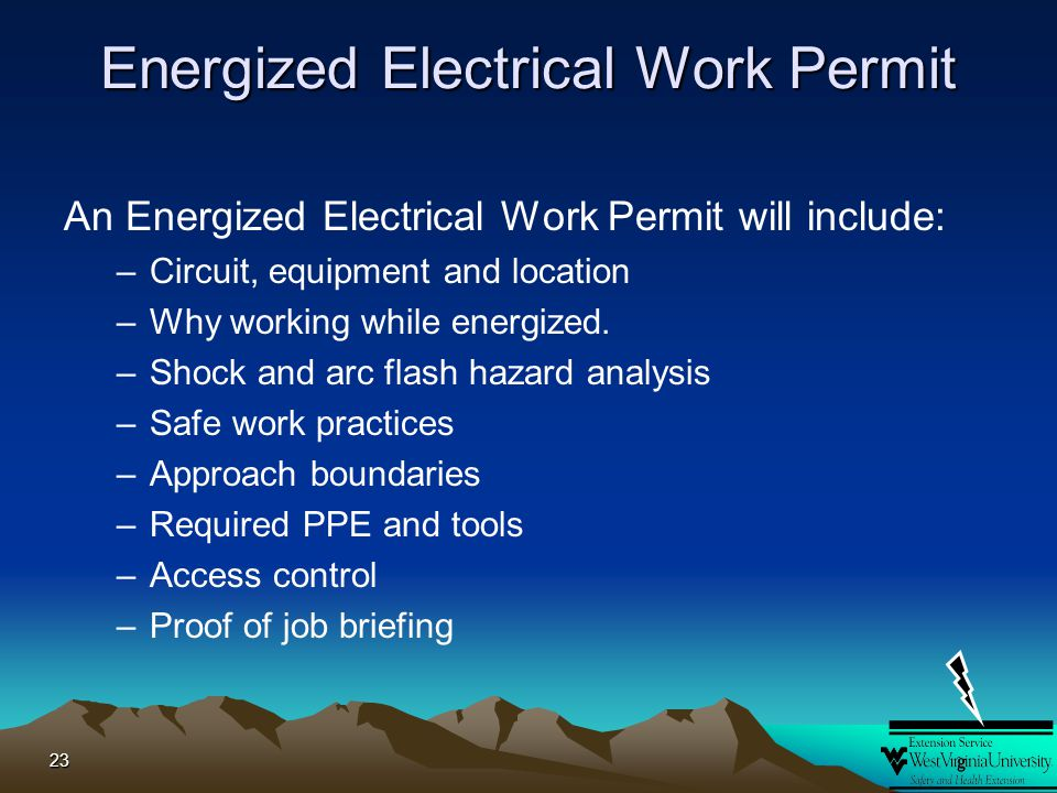 Introduction to arc flash ppt download for Energized electrical work permit template