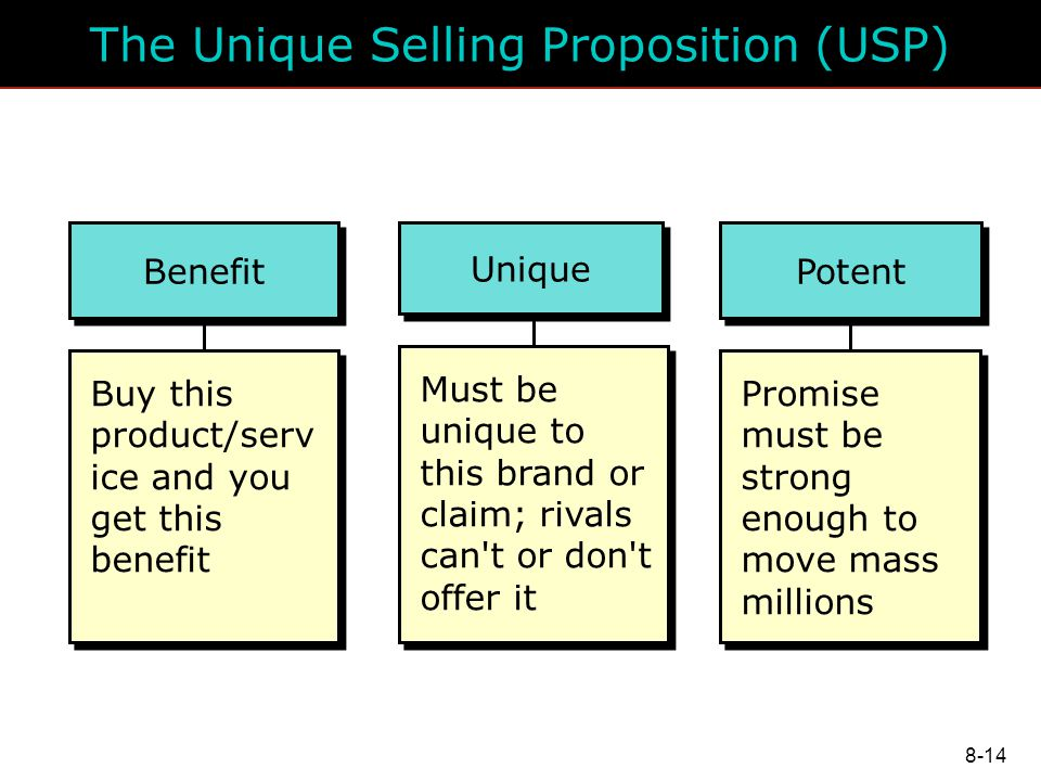 abcs unique selling proposition The unique selling proposition (usp) or unique selling point is a marketing concept first proposed as a theory to explain a pattern in successful advertising campaigns of the early 1940s the usp states that such campaigns made unique propositions to customers that convinced them to switch brands.