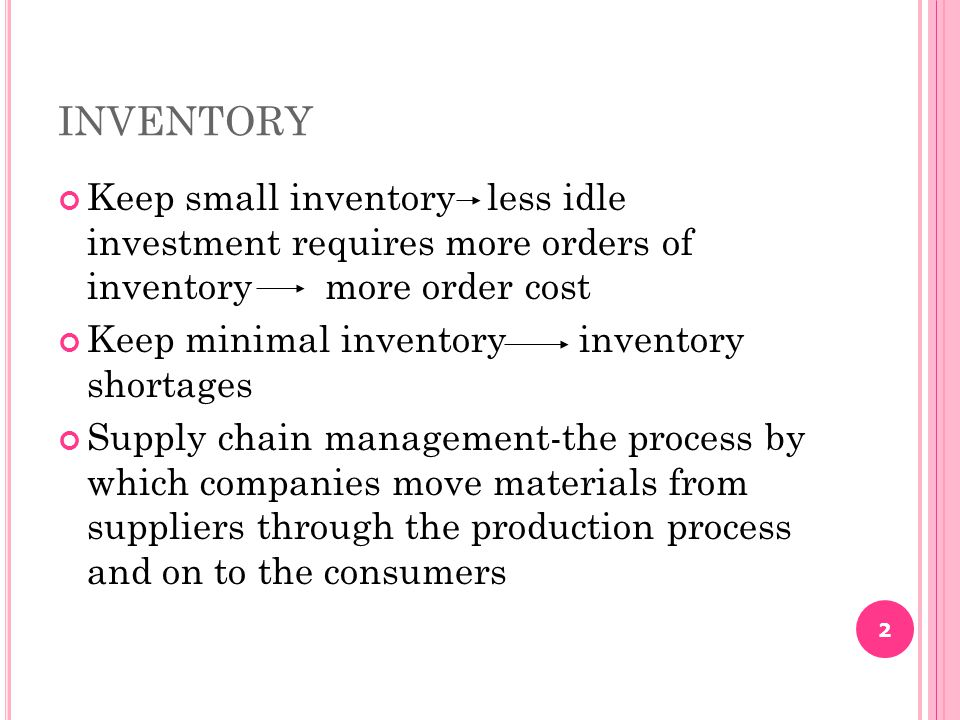INVENTORY Keep small inventory less idle investment requires more orders of inventory more order cost.