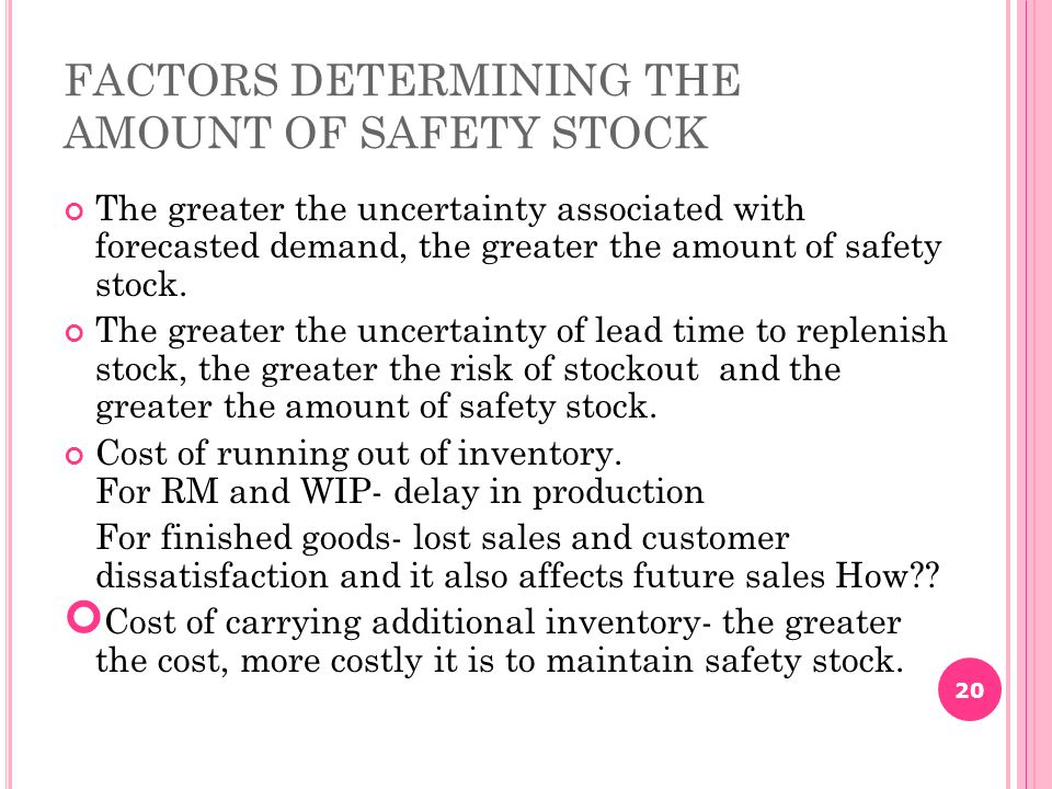 FACTORS DETERMINING THE AMOUNT OF SAFETY STOCK