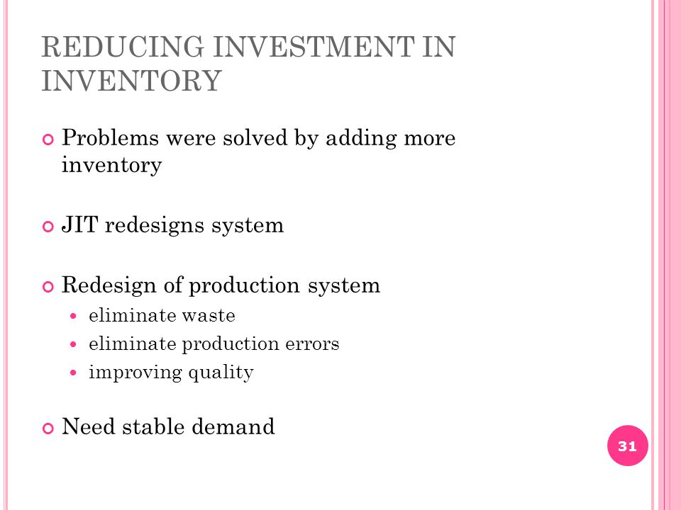 REDUCING INVESTMENT IN INVENTORY